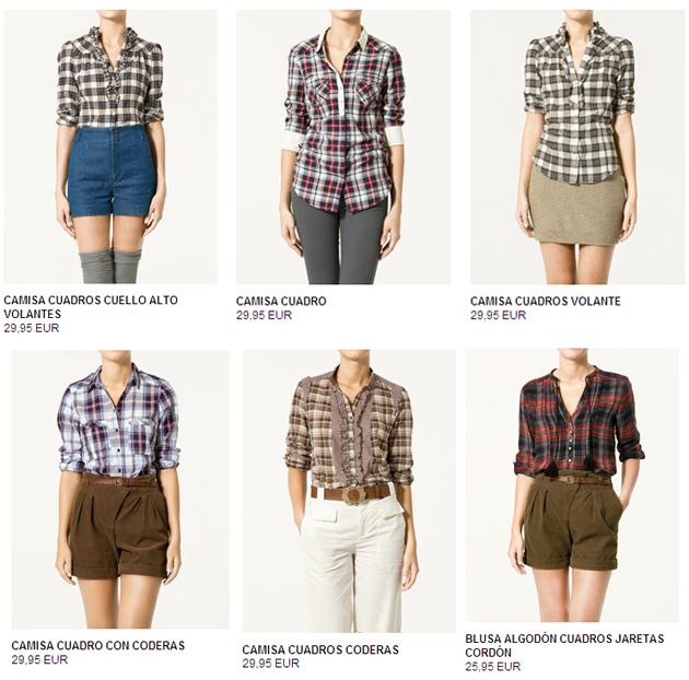 Camisas de cuadros o leñador de Zara