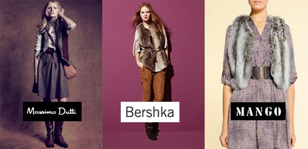 Chalecos de pelo. Modelos de Massimo Dutti, Bershka y Mango