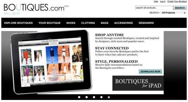 Aplicacion app ipad boutiques.com
