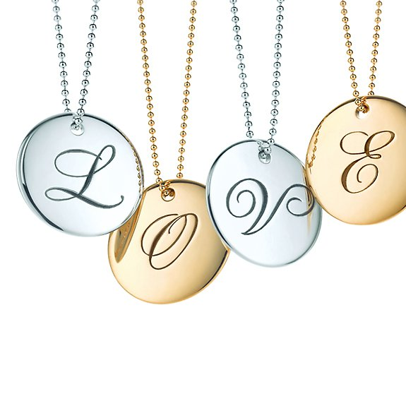 Tiffany Notes round letter pendants