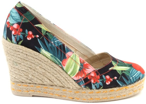 Exotic high wedge heel espadrilles with floral pattern in fresh orange, pink, bright red, pale green, dark green and black.